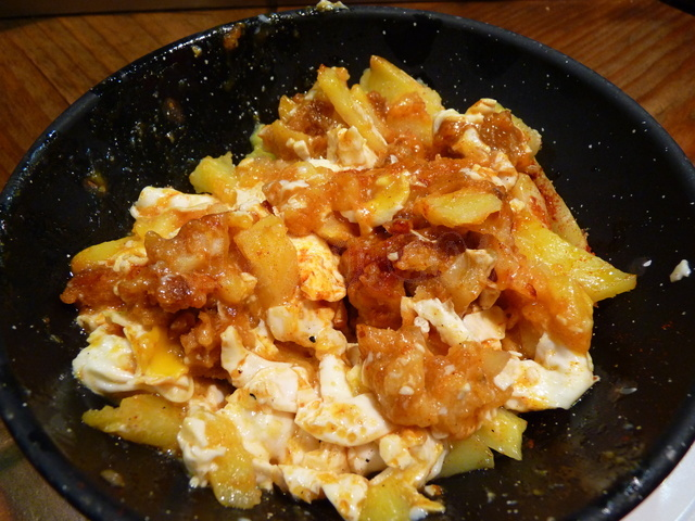 Scrambled eggs with farinato
